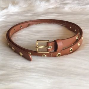 J. Crew Skinny Thin Belt Brown Tan Gold